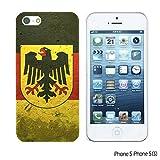 OBiDi - Flag Pattern Hard Back Case for Apple iPhone SE / Apple iPhone 5S / 5 - German Flag With Emblem