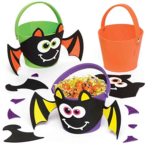 Bat Art Projects For Halloween (Baker Ross Halloween Bat Treat Bucket   Decorate with Stickers   Kids Fun Arts & Crafts Project   No Glue or Scissors Needed   Pack of 3 Trick-or-Treat)
