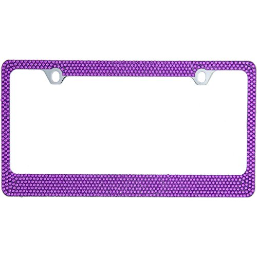 BLVD-LPF OBEY YOUR LUXURY Popular Bling 7 Row Purple Color Crystal Metal Chrome License Plate Frame with Crystal Screw Caps – 1 Frame
