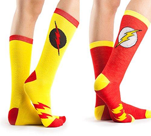 Dc Halloween (DC Comics Flash Reverse Flash 2 Pack Casual Crew Socks (Shoe Size 4-10, Red/Yellow))