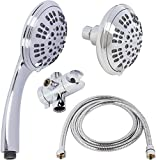 double chrome shower head - 6 Function Dual Shower Head Combo - High Pressure, Adjustable Handheld & Fixed Showerheads With Hose & Diverter And Double Removable Rainfall Spray Heads - Chrome