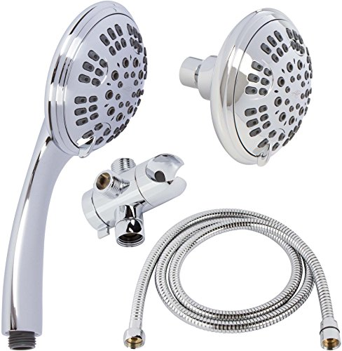6 Function Shower Head Combo – High Pressure, Adjustable Hand Held & Fixed Showerheads With Hose & Diverter – Indoor And Outdoor Modern Bath Spa Fixture – Chrome