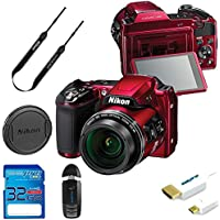 Nikon COOLPIX L840 Digital Camera with 38x Optical Zoom and Built-In Wi-Fi (Red) with Essential Accessory Bundle