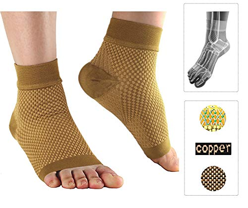 Compression Foot Sleeves for Plantar Fasciitis – Best Arch Support Copper Socks for Heel Pain, Swelling,Pain Relief and Running 20-30 mmHg for Men and Women(1Pair), XL