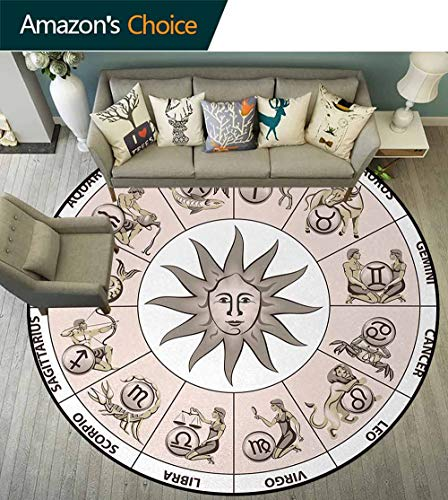 Astrology Round Kids Rugs,Wheel Circle Of Zodiac Signs With Sun Seem Image In Center Art Print Learning Carpet Non Skid Nursery Kids Area Rug For Playroom Diameter-63 Inch,Pale Grey And White