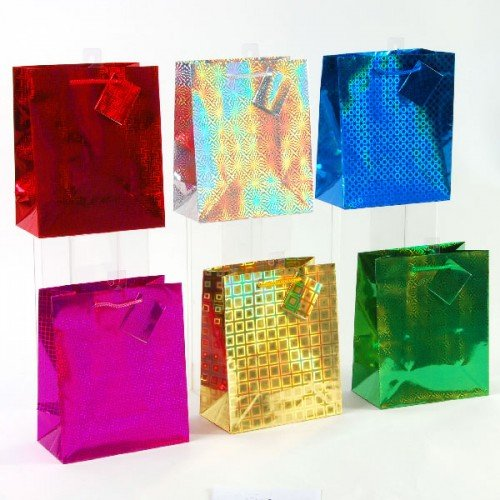 Hologram Gift Bags - FLOMO Extra Large Hologram Shine Gift Bags - Assorted (12 Pack)
