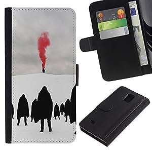 Billetera de Cuero Caso Titular de la tarjeta Carcasa Funda para Samsung Galaxy Note 4 SM-N910 / Red Blood Metal Goth Winter Dark / STRONG