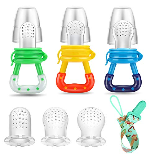 PandaEar Baby Fresh Fruit Food Feeder Nibbler Pacifier (3 Pack) |Training Massaging Toy Teether| Food Grade Soft Safe BPA-Free Silicone Pouches| Babies Toddlers Infants Kids