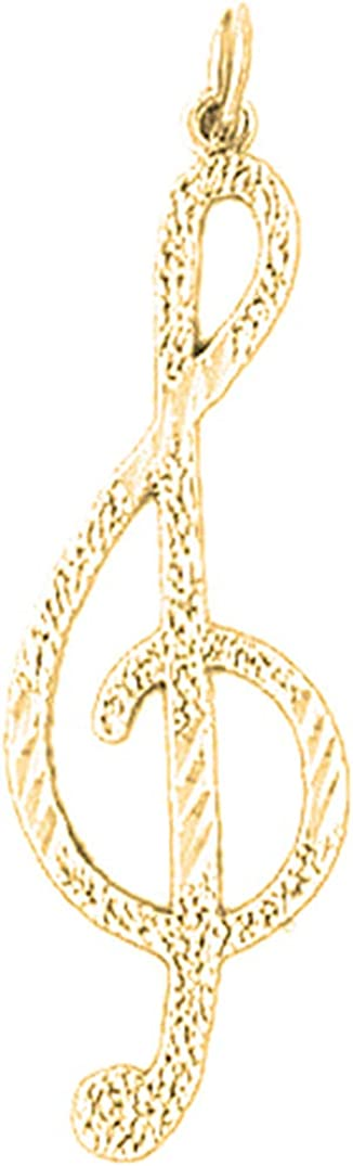 Jewels Obsession 14K Yellow Gold Treble Clef Pendant 40 mm