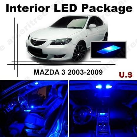 ameritree azul LED luces interior kit de paquete + azul LED de la matrícula para Mazda