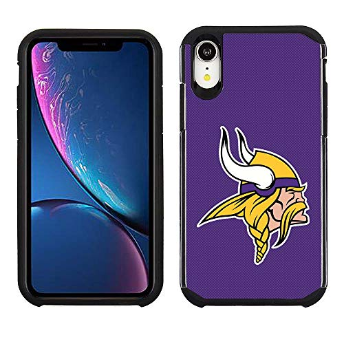 Prime Brands Group Cell Phone Case for Apple iPhone XR - NFL Licensed Minnesota Vikings - Purple Textured Back Cover on Black TPU Skin
