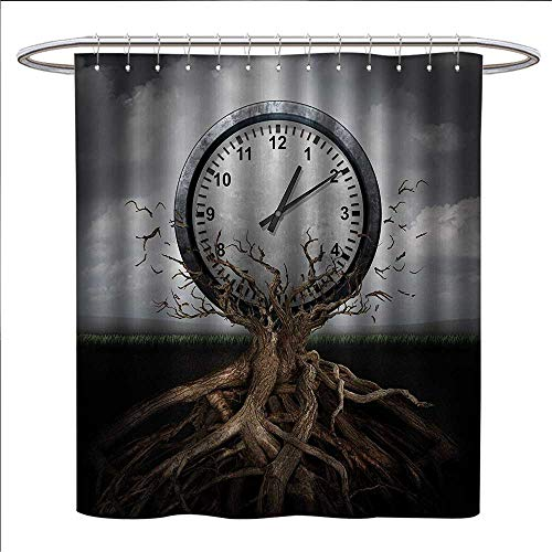 Sydney Clock Square (Clock Shower Curtains Fabric Extra Long A Vintage Clock Breaking Free from a Tree Trunk A Surrealistic Symbol for Strategy Print Bathroom Set with Hooks W69 x L70 Grey)