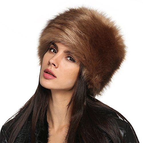 zeogoo-women-winter-faux-fur-russian-cossack-style-hat-headband-ear-warmer-one-size-brownfba