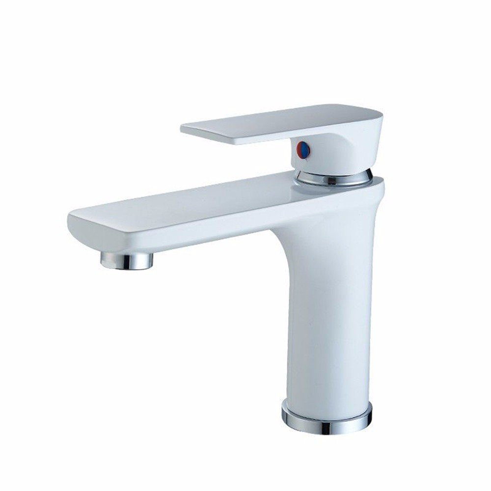 White Bathroom Sink Taps All Copper Chrome Plated Single Handle, Single Hole Bathroom Sink, Basin Taps, Hot And Cold Water,Silver Heightening