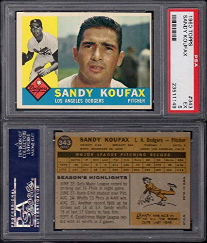 1960 Topps Regular (Baseball) Card# 343 Sandy Koufax (psa) of the Los Angeles Dodgers Ex Condition