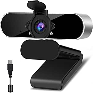 1080p Webcam with Microphone 360 Degree Rotation USB Webcam Plug & Play for Computer Camera with 110-Degree Wide View Angle for Desktop, Laptop,Video Calling Recording Conferencing