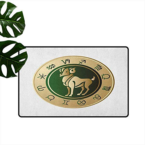 Zodiac Aries Antibacterial Doormat Astrological Circle with a Modern Look and Abstract Animal Figure Personality W15 x L23 Emerald and Sand ()