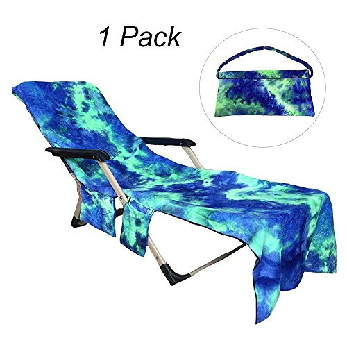 Terry Lounge Cover - FLYMEI Beach Chair Cover, Chaise Lounge Towel Cover for Pool, Sun Lounger, Hotel, Vacation with Storage Pockets, Blue 82.5''x29.5''