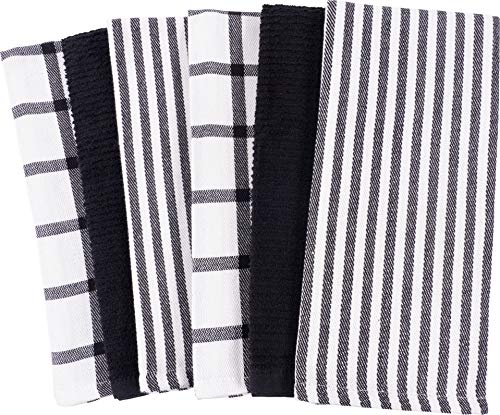 3 Dish Towels - Mixed Flat & Terry Kitchen Towels | Two Sets of 3 18 x 28 Inches | 4 Flat Weave Towels for Cooking and Drying Dishes and 2 Terry Towels, for House Cleaning and Tackling Messes and Spills (Black)