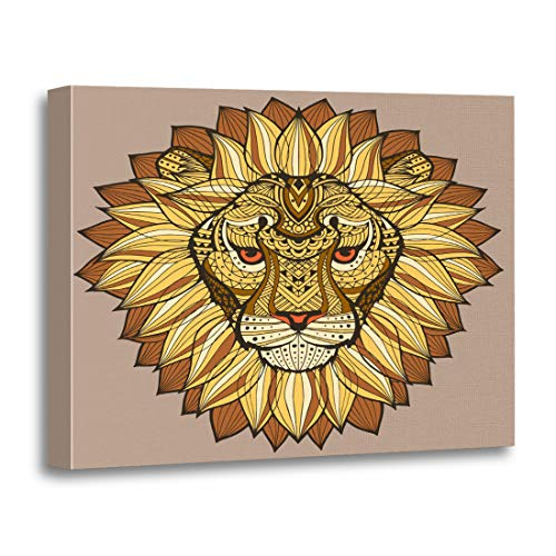 Tinmun Painting Canvas Artwork Decorative Lions Head Patterned in The of Ethnic Tribal Yellow Wooden Frame 16x20 inches Wall Art for Home]()