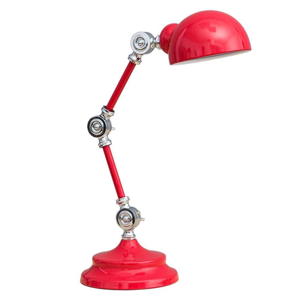 家具の照明, 現代のledテーブルランプ、シンプルな折りたたみ錬鉄製のランプデスクライト寝室用リビングルームベッドサイドテーブルホテルオフィス読書、E14、16×50センチ (色 : 赤) B07Q6WVNQB 赤