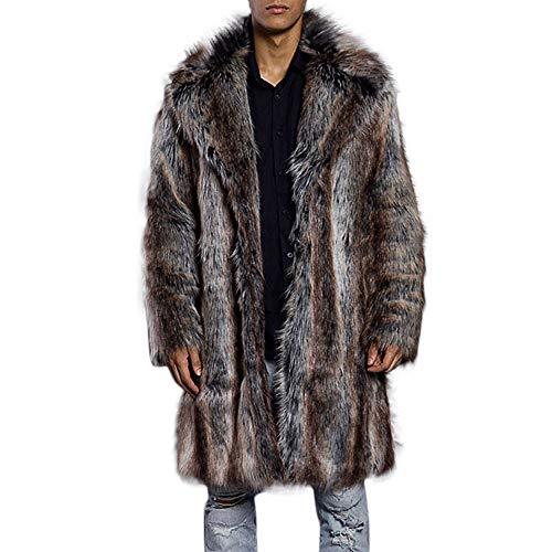 Men's Coats for Fashion Mens Warm Thick Fur Collar Coat Faux Fur Parka Cardigan,Outdoor Coat (XL,Brown) by Ennglun Jacket mens Coats