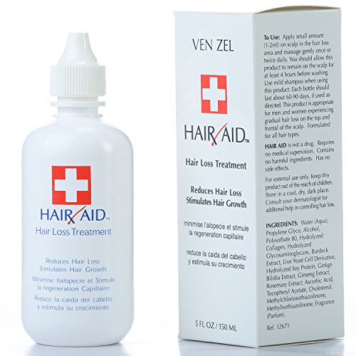 REXSOL Hair Aid Hair Loss Treatment | Stimulates Hair Growth | With pure Vitamin C & E | Live Yeast Cell Derivatives | Ginseng, Rosemary, Burdock & Ginkgo Biloba Extract. (150 ml / 5 fl oz)