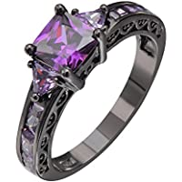 Princes Cut Purple Amethyst Engagement Band Ring 10KT Black Gold Filled (10)
