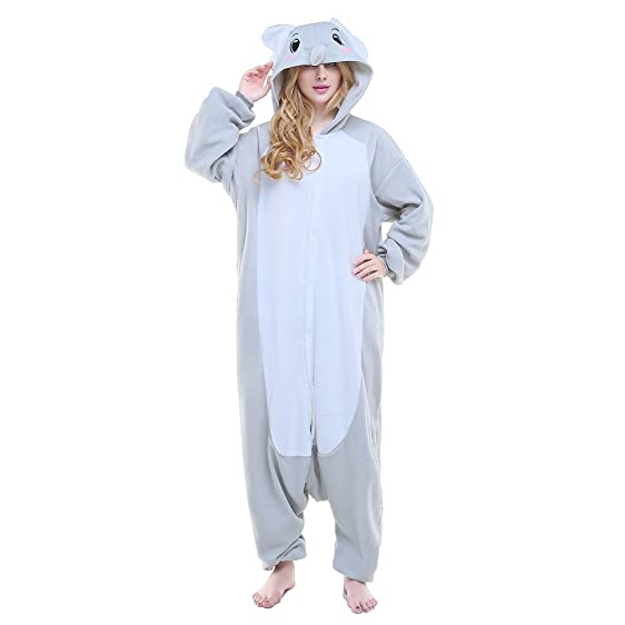 Sunrise Unisex Adult Grey Elephant Anime Pyjamas Kigurumi Onesie Halloween Costume (S)