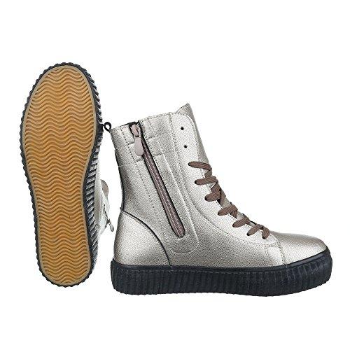 Ital-Design Sneakers High Damenschuhe Reißverschluss Freizeitschuhe Silber Grau
