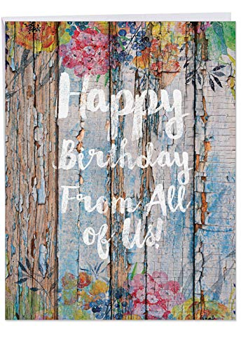 Supersized Birthday Card Blooming Driftwood Birthday with Envelope 8.5 x 11 Inch - Colorful Driftwood Plank Art with Happy Birthday From All of Us Text Greeting Card J6108EBDG-US