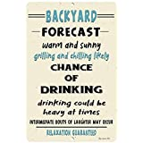 Dyenamic Art Backyard Forecast Metal Sign - Lightweight Funny Sign for Indoor/Outdoor - Decorative Bar Sign with Glossy Finis