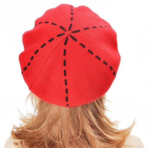 Womens Reversible Cashmere Beret Hat Double Layers French Beret, Red