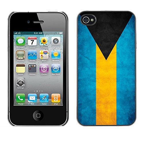 Omega Case PC Polycarbonate Cas Coque Drapeau - Apple iPhone 4 / 4S ( Bahamas Grunge Flag )