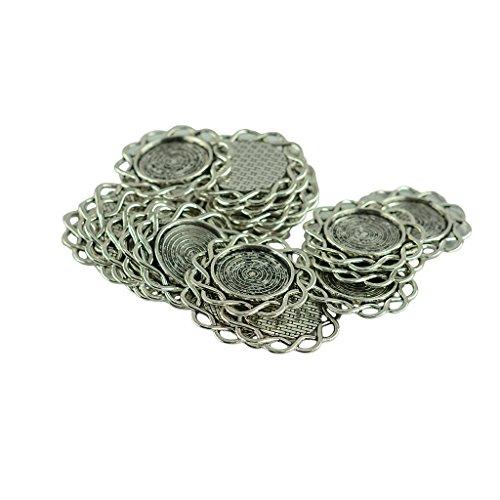 Dovewill 20 Pieces Filigree Wire Flower Pattern Pendant Tray Round Cabochon Setting Blank Bezel Pendant Base