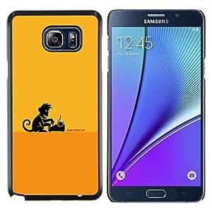 KLONGSHOP // Cubierta de piel con cierre a presión Shell trasero duro de goma Protección Caso - Escritor Monkey Business - Samsung Galaxy Note 5 5th N9200 //