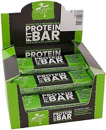 Barritas Proteicas 100% Naturales de Avicenna | Sin Soja | Sin Gluten | Sin Lácteos |, Sabor a Chocolate y Sal Marina, Pack de 12 × 52g