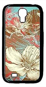 Samsung Galaxy S4 I9500 Black Hard Case - Illustration Flower Galaxy S4 Cases