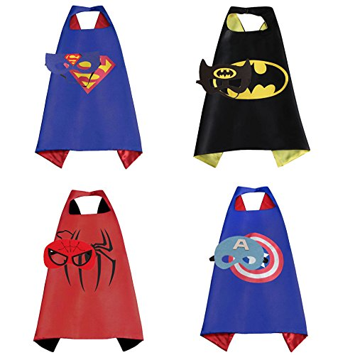 Mizzuco Cartoon Dress Up Costume Satin Cape with Mask for Boys 4pcs