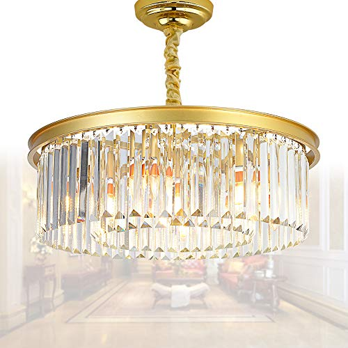 MEELIGHTING Modern Contemporary Gold Crystal Chandeliers Lights Vintage Pendant Round Chandelier Lighting Fixture Traditional 3-Tier 5Lights for Dining Room Living Room Kitchen Island W22
