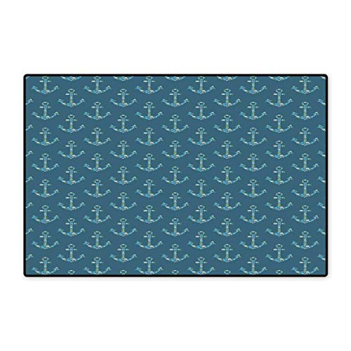 (Anchor Bath Mats Carpet Stylized Anchors with Maritime Figures Fishes Underwater Sea Animals Customize Door mats for Home Mat 24