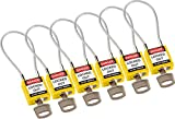 Brady 146129 Compact Cable Padlocks, 5-Pin Cylinder, 4.2'' Shackle Clearance, Keyed Alike, 1.31'' Height, 1.25'' Wide, 0.56'' Length, Yellow