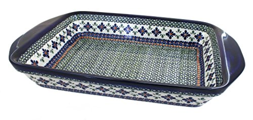 Polish-Pottery-Mosaic-Flower-Extra-Large-Baker-with-Handles