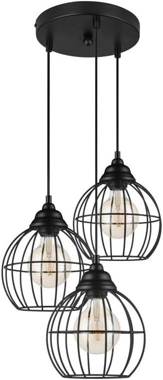 Wohnzimmer und Kinderzimmer LIFA LIVING LED H/ängelampe 3 flammig Schwarz Deckenlampe f/ür Schlafzimmer E27 H/ängeleuchte aus Metall Industrial Gitter