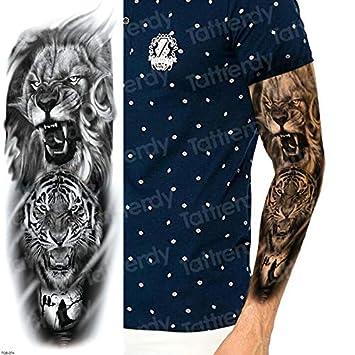 Manga grande Tatuaje de brazo completo Boceto León Tigre Etiqueta ...