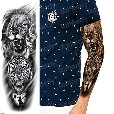 3 Piezas Brazo Completo Manga Tatuaje boceto león Tigre Tatuaje ...