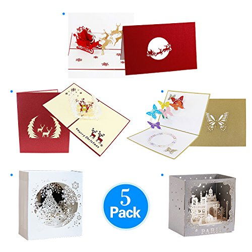 Jerry & Maggie - Pop Up Greeting Card - Santa Claus Christmas Eve Card 3D Paper Greeting Thank You Card Handmade Christmas Birthday Friendship Gift Giver (5-Pieces-Bundle)