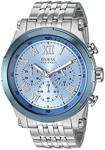 GUESS  Stainless Steel Sky Blue Chronogaph Bracelet Watch. Color: Silver-Tone/Sky Blue (U1104G4)