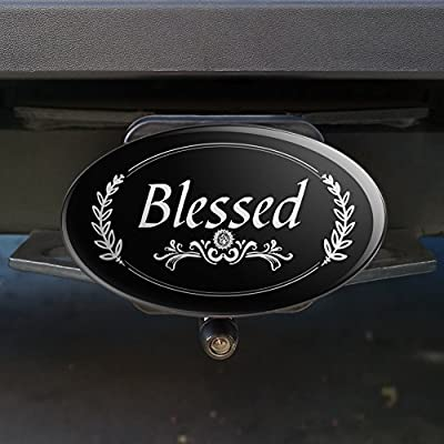 Graphics and More Blessed Halo On Black Oval Tow Hitch Cover Trailer Plug Insert 2