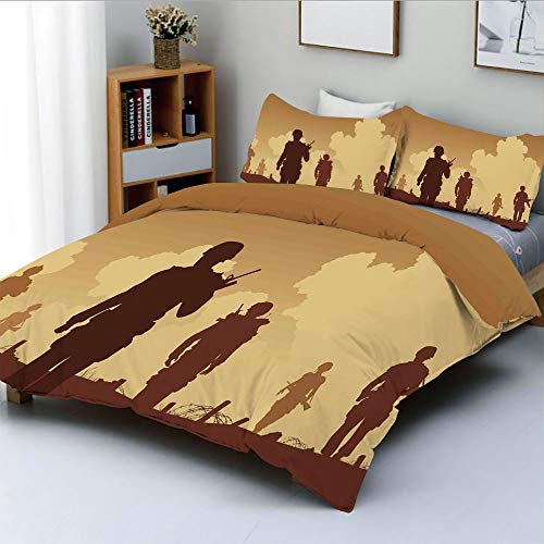 Duplex Print Duvet Cover Set Twin Size,Soldier Shadows with Military Costumes and Weapons Walking on Patrol PrintDecorative 3 Piece Bedding Set with 2 Pillow Sham,Brown Cream,Best Gift For Kids & Adul -